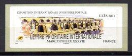 Vignette LISA  // 38e Marcophilex  // Uzés 2014 - 2010-... Illustrated Franking Labels