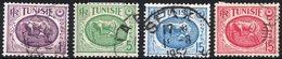 TUNISIA, MUSEI, CARTAGINE, 1950-1951, FRANCOBOLLI USATI,  YT 339,342,344,345   Scott 215,218,221,222 - Tunisia (1888-1955)