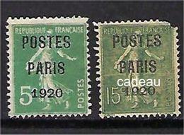 "FR Préo YT 24 & 25 "" POSTES PARIS "" 1920-22 Neuf(*)NSG - Préoblitérés"