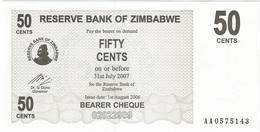 Zimbabwe 50 Cents 01-08-2006 Pick 36 UNC - Zimbabwe
