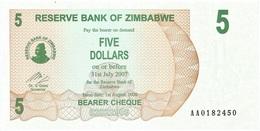 Zimbabwe 5 Dollars 01-08-2006 Pick 38 UNC - Zimbabwe