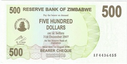 Zimbabwe 500 Dollars 01-08-2006 Pick 43 UNC - Zimbabwe