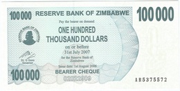 Zimbabwe 100.000 Dollars 01-08-2006 Pick 48.b UNC - Zimbabwe