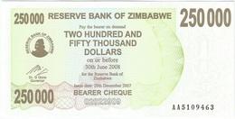 Zimbabue - Zimbabwe 250.000 Dollar 20-12-2007 Pick 50 UNC - Zimbabwe