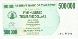 Zimbabwe 500.000 Dollars 01-07-2007 Pick 51 UNC - Zimbabwe