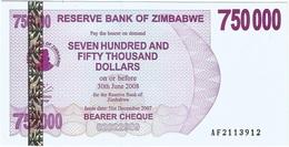 Zimbabwe 750.000 Dollars 31-12-2007 Pick 52 UNC - Zimbabwe