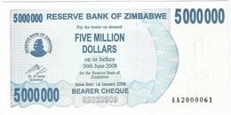 Zimbabwe 5.000.000 Dollars 01-01-2008 Pick 54 UNC - Zimbabwe