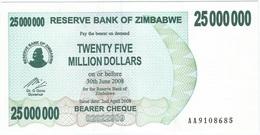 Zimbabwe 25.000.000 Dollars 02-04-2008 Pick 56 UNC - Zimbabwe