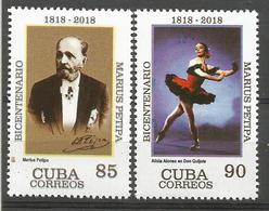 Cuba 2018 Bicentenary Of Marius Petipa, Ballet Dancer Alicia Alonso In Don Quijote 2v MNH - Danza