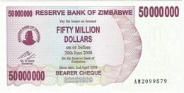 Zimbabwe 50.000.000 Dollars 02-04-2008 Pick 57 UNC - Zimbabwe