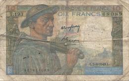 N. 1 Banconota - BANQE  DE  FRANCE  -  FRANCHI 10  -  Anno 1949 - 1871-1952 Circulated During XXth