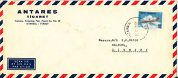 Turkey Air Mail Cover Sent To Denmark Istanbul 10-6-1968 Single Franked - 1921-... Republik