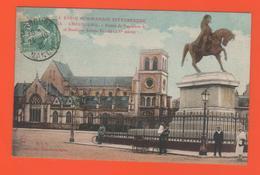 ET/177 CHERBOURG STATUE NAPOLEON LA BASILIQUE SAINTE TRINITE / écrite Timbre Poste Cachet 1925 Carte Colorisée Animée - Cherbourg