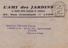 18647# BANDE IMPRIME L' AMI DES JARDINS Obl JOURNAUX PP * LYON * 1936 RHONE Pour GRIGNON ECOLE NATIONALE AGRICULTURE - Marcophilie (Lettres)