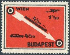 Austria Hungary WIEN - BUDAPEST Railway Eisenbahn TRAIN Zug CAR Airplane Poster Vignette Cinderella Österreich Ungarn - Trains