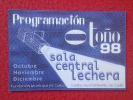 ANTIGUA TARJETA DE VISITA VISIT CARD PUBLICIDAD PROGRAMACIÓN O SIMIL FESTIVAL DE TEATRO IBEROAMERICANO 1998 CÁDIZ SPAIN - Tarjetas De Visita