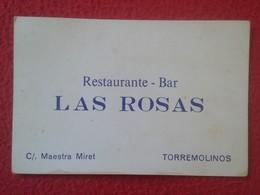 ANTIGUA TARJETA DE VISITA VISIT CARD PUBLICIDAD PUBLICITARIA O SIMILAR RESTAURANTE BAR LAS ROSA TORREMOLINOS SPAIN VER F - Tarjetas De Visita