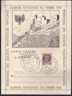 Carte Lettre Locale  Journee Du Timbre 1943 Petain Besancon - Francia