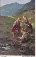 AK Müller-Lingke - Auf Unerlaubten Wegen - Kinder Beim Angeln - Feldpost 1917 (34353) - Paintings