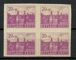 Estland Estonia 1941 Dt. Okkupation Wiederaufbau Michel 5 U Als 4-Block MNH - Occupation 1938-45