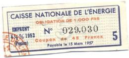 Caisse Nationale De L'Energie - Emprunt - Coupon De 45 Francs - A - C