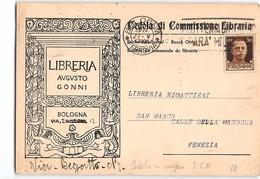 15748 01 CEDOLA COMMISSIONE LIBRARIA LIBRERIA AUGUSTO GONNI BOLOGNA X VENEZIA - 1900-44 Victor Emmanuel III