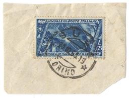 ITALIA - ITALY - ITALIE - 1932 - 1,25 Decennale Della Marcia Su Roma - Su Frammento - Unificato 336 - Viaggiato Da Susa - Usati