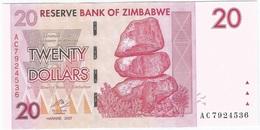 Zimbabwe 20 Dollars 2007 Pick 68 UNC - Zimbabwe