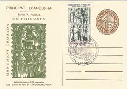 Viguerie D'Andorre - Andorra - Carte Entier Postal, Blason Brun, Repiquage Monument Co-Princes En 1979 - Tirage 200 Ex - Timbres
