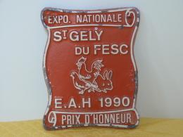 """Plaque Concours """"AVICULTURE"""" St Gely Du Fesc 1990. - Animals"""