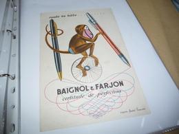 BUVARD Blotting Paper   Baignol Et Farjon Singe - Stationeries (flat Articles)