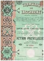 Action Ancienne - Tramways Du Taschkent S.A. - Titre De 1897 - Chemin De Fer & Tramway
