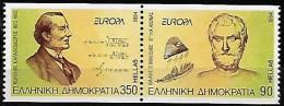 Grèce Greece 1994 Europa Découvertes Thalès De Milet Mathématiciens, 2 Val Setenant Mnh Dentelé Vertical + 1 Carnet Mnh - 1994