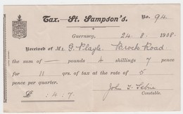 Guernsey - St Sampsons Receipt For Payment Of Rates. August 1908 - Royaume-Uni