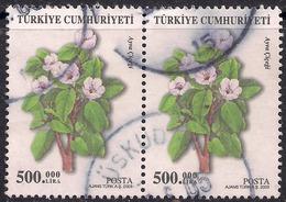 Turkey 2003 500.00 Lira X 2 Flowers 'Ayva Gigegi' Used Stamps ( E1259 ) - Turkey
