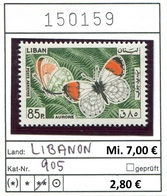 Libanon - Liban - Rep. Libanaise - Michel 905 - ** Mnh Neuf Postfris - Schmetterlinge Butterflies Papillons - Libanon