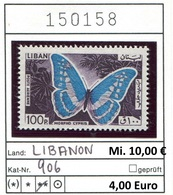 Libanon - Liban - Rep. Libanaise - Michel 906 - ** Mnh Neuf Postfris - Schmetterlinge Butterflies Papillons - Libanon
