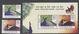 INDIA, 2017, MNH, JOINT ISSUE WITH PNG, BIRDS, PEACOCKS, BIRDS OF PARADISE, 2v+SHEETLET - Peacocks
