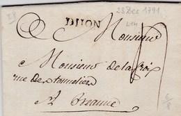 LAC De Dijon (21) Pour Beaune (21) - 20 Décembre 1791 - Marque Linéaire DIJON + Taxe Manuelle 4 - Marcophilie (Lettres)