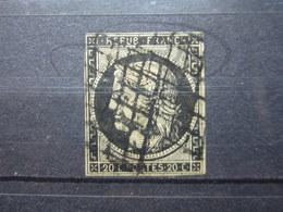 VEND TIMBRE DE FRANCE N° 3 , NOIR SUR TEINTE !!! (c) - 1849-1850 Ceres