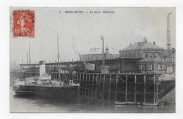 (RECTO / VERSO) BOULOGNE SUR MER EN 1909 - N° 3 - LA GARE MARITIME AVEC BATEAU - CARTE GONDOLEE - BEAU CACHET - CPA - Boulogne Sur Mer