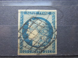 VEND TIMBRE DE FRANCE N° 4 , BLEU FONCE SUR JAUNE !!! (c) - 1849-1850 Cérès