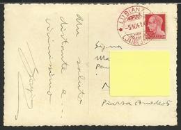 Storia Postale: Raro Annullo Rosso Occupazione Lubiana Su Cartolina Ljubljana Franciskanska Ulica - 1900-44 Vittorio Emanuele III