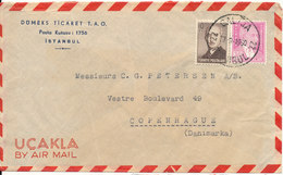 Turkey Air Mail Cover Sent To Denmark 19-9-1960 (the Cover Is Bended) - 1921-... Republic