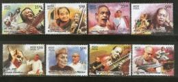 India 2014 Indian Musicians Musical Instrument Singer Art 8v MNH Inde Indien - Musique
