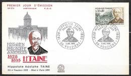 FDC Lettre Premier Jour Cachet Vouziers  Le  09/07/1966    N°1475 Hippolyte Taine   TB.. Soldé à Moins De 20 % ! ! - FDC