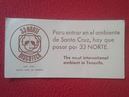 TARJETA DE VISITA VISIT CARD PUBLICIDAD O SIMIL 33-NORTE DISCOTECA AMBIENTE MONITOR PUB GAY ? SANTA CRUZ TENERIFE SPAIN - Tarjetas De Visita