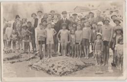 CPA PHOTO 76 SAINT VALERY EN CAUX Plage Groupe Souvenir Concours Châteaux De Sable 29 Août 1929 - Saint Valery En Caux
