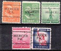 USA Precancel Vorausentwertung Preo, Locals Pennsylvania, Mercer 701, 5 Diff. - Vereinigte Staaten