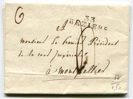 HERAULT De BEZIERS LAC Du 18/11/1813 Avec Linéaire 32x9 Taxée 4 Pour MONTPELLIER - Marcophilie (Lettres)